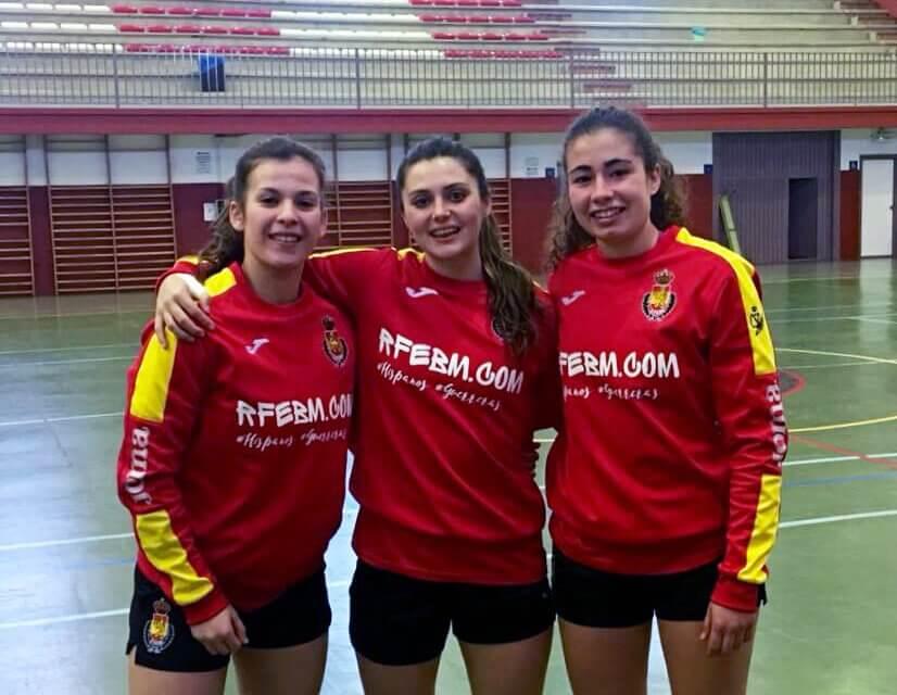 Cristina Polonio, Rocío Rojas y Lorena Zarco con la selección española junior